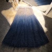 New show stacked splicing stitching star sky blue gradient perspective yarn skirt big pendulum fairy cake half woman