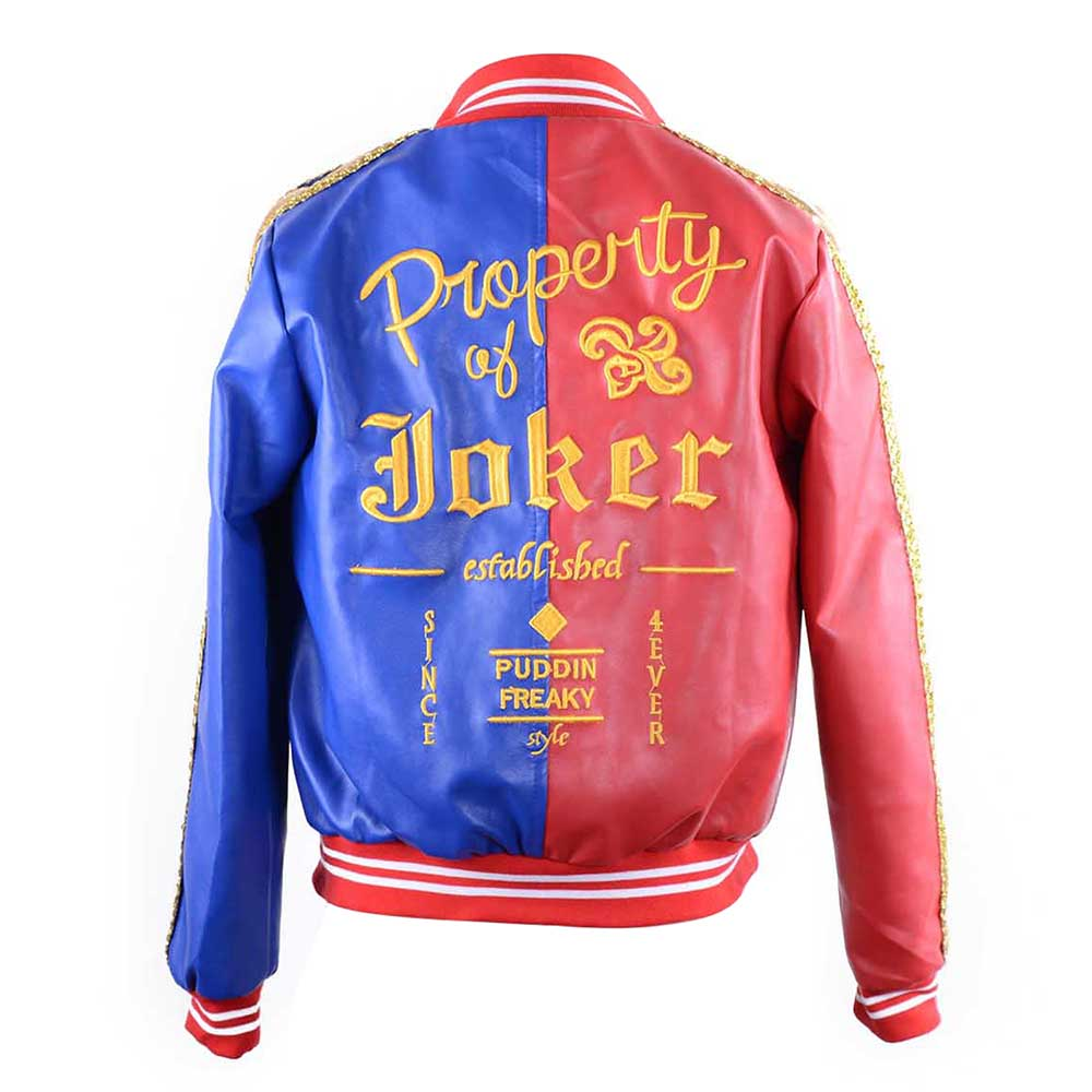 Deluxe harley quinn jacket property of joker embroidery