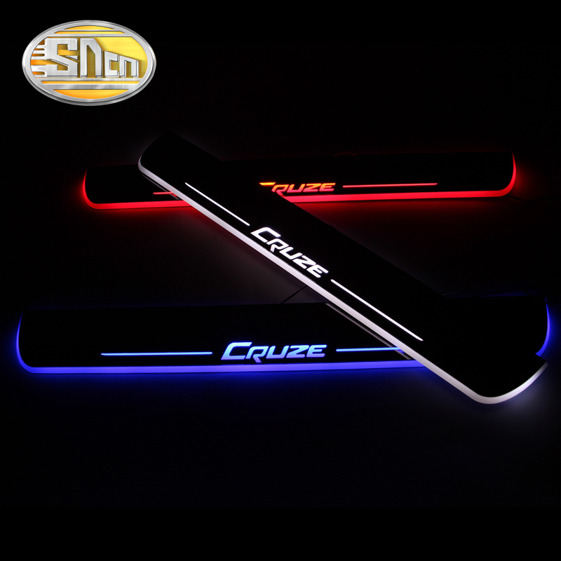 SNCN Waterproof Acrylic Moving LED Welcome Pedal Car Scuff Plate Pedal Door Sill Pathway Light For Chevrolet Cruze 2016 2017