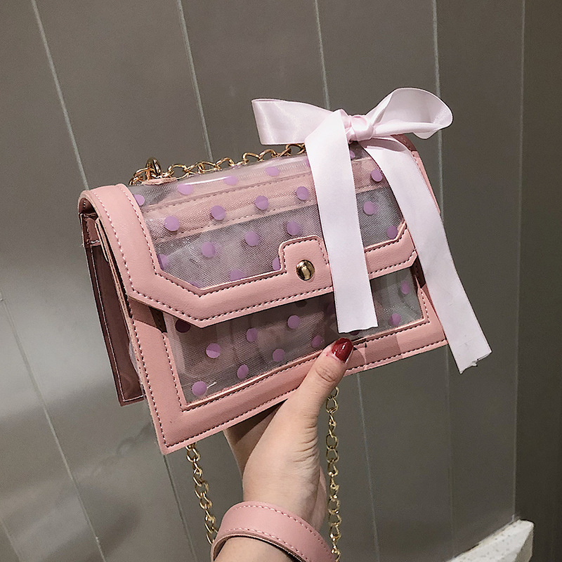 Summer Transparent Jelly Bag Ribbons Crossbody Bags For Women 2019 PVC Luxury Handbags Designer Ladies Beach Clear Shoulder Bag in Shoulder Bags from Luggage Bags