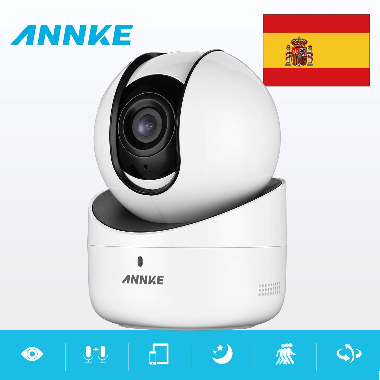 Clearance Sale For Spain : ANNKE 720P WiFi IP Camera Network Security IR CUT Motion Detecte Intelligent Alert WDR ROI 3D DNR