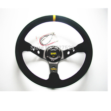 Car Racing OMP Steering Wheel Fit Most 14inch 350mm Deep Drifting Nubuck Suede Leather