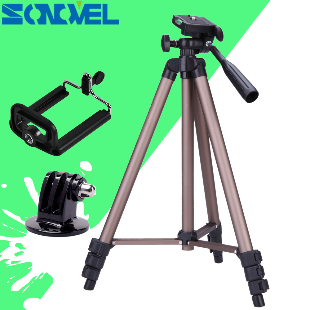 Color : Brown Camera Accessories WT3130 Portable Camera Tripod Stand with Rocker Arm for DSLR Camera Camcorder Brown