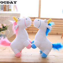 OCDAY Lovely Unicorn Soft Plush Doll Toy Horse Animal Stuffed Plush Doll Kids Baby Dolls Toy Xmas Birthday Children's Day Gift(China)