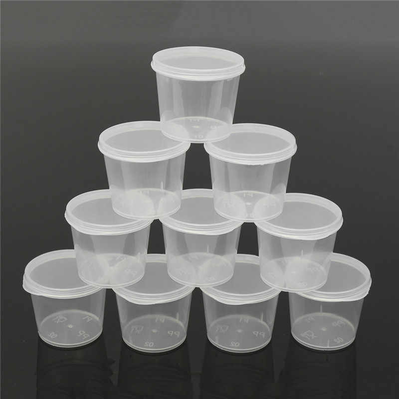 30Pcs 25ml Disposable Plastic Takeaway Sauce Cup Containers Food Box with Hinged Lids Small Pigment Paint Box Palette Reusable