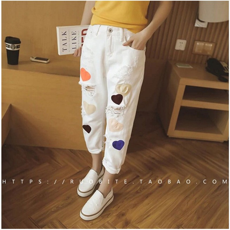 Fashion 2016 Women jeans plus size denim ankle length trousers female summer Embroidery loose harem pants trousers CK007 new summer vintage women ripped hole jeans high waist floral embroidery loose fashion ankle length women denim jeans harem pants