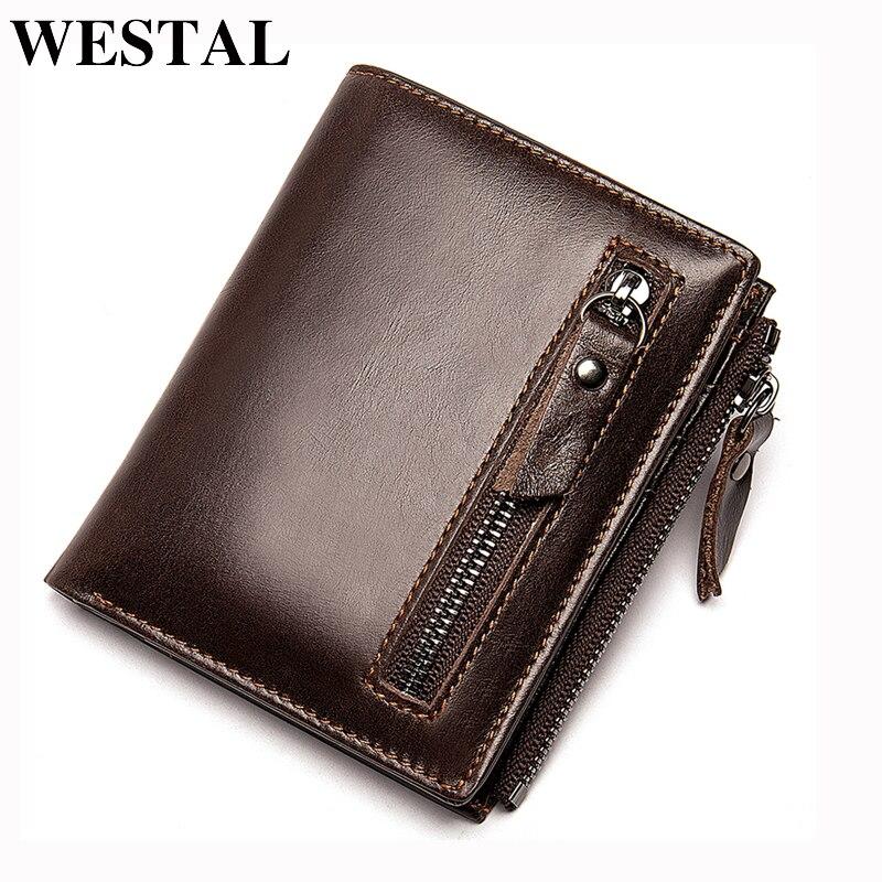 WESTAL Men's Wallet Coin-Purse Clutch Genuine-Leather Card-Holder Short Slim-Money-Bag