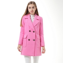 2016 Autumn Winter Wool Tweed Coat European American Turn-down Collar Double Breasted Wide-waisted Coat Woolen Women