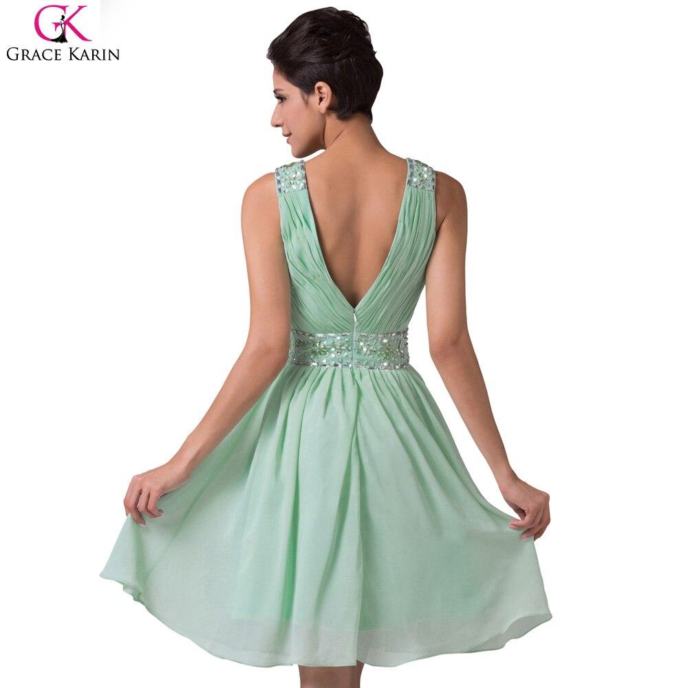Grace karin mint green brautjungfernkleider kurze chiffon billige ...
