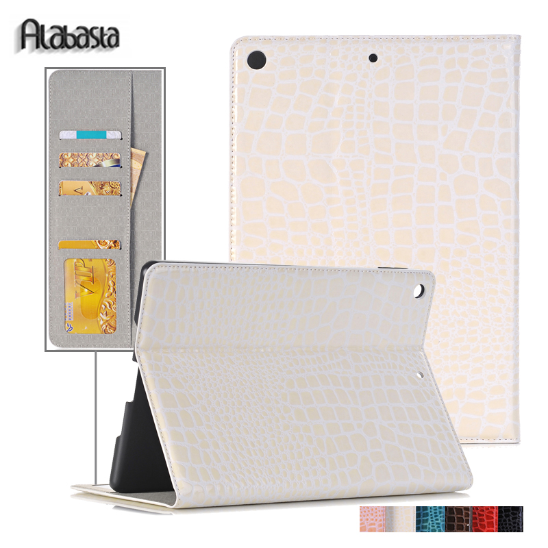 Cover For Apple iPad 5 Air 1 Alabasta Crocodile PU Leather Stand Flip Cover Smart Sleep Case for iPad Air protective shell alabasta painting pu leather stand case