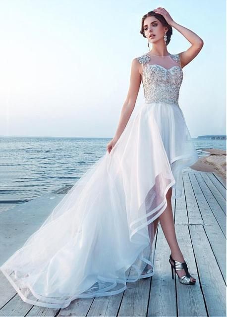 High Low Short Wedding Dresses Sleeveless Beaded Crystals Short ...