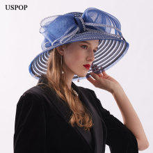 USPOP 2019 Newest women straw sun hats wide brim summer big bow patchwork beach hat casual breathable