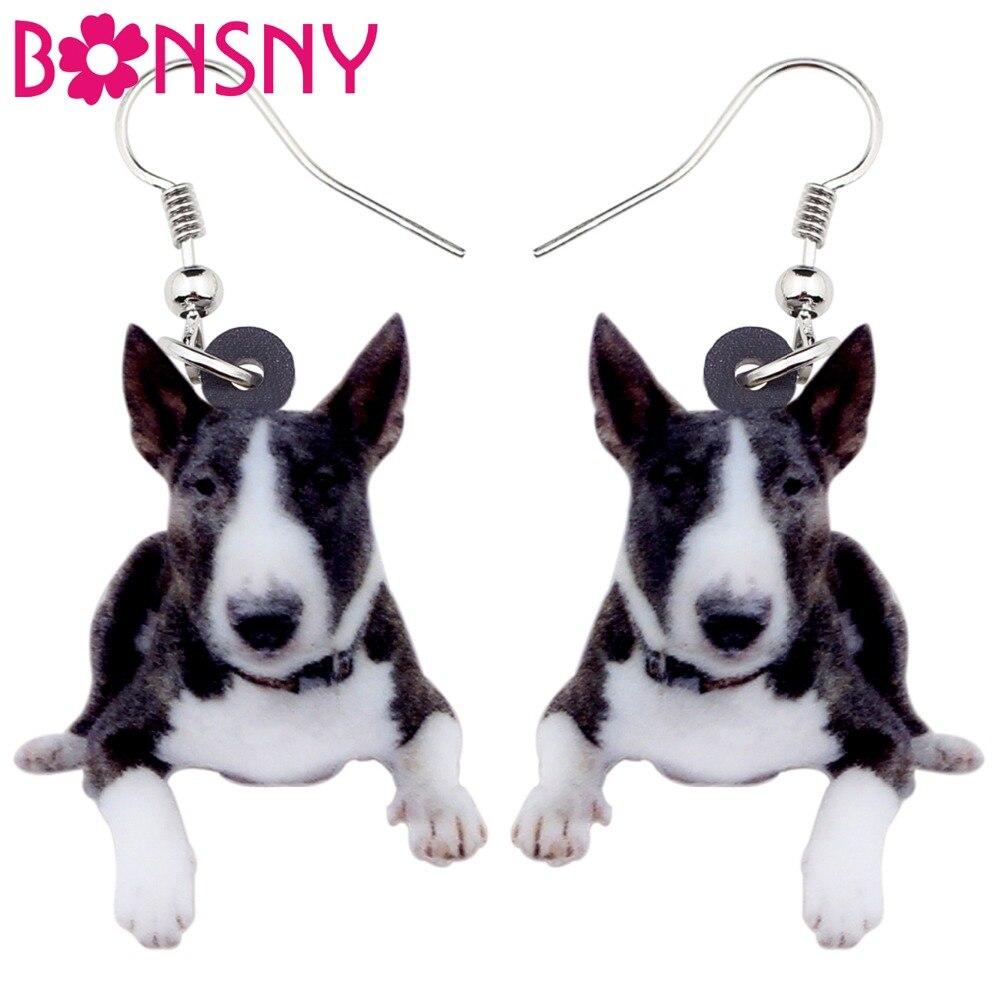 Gehorsam Bonsny Acryl Amerikanischen Pitbull Terrier Dog Ohrringe Big Lange Baumeln Modeschmuck Für Frauen Mädchen Damen Kinder Tier Ohrringe