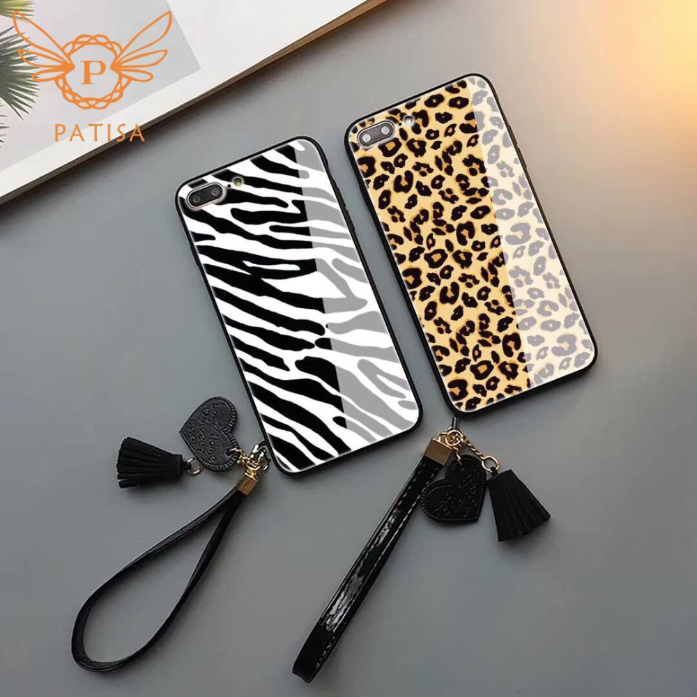Luxury Leopard With lanyard Phone <font><b>Case</b></font> for iPhone XS Max 7 8 6S Plus Cute fashion Zebra Cover For <font><b>Huawei</b></font> <font><b>P20</b></font> pro Mate 9 10 Lite image
