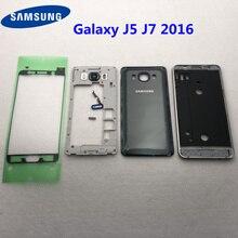 Do Samsung Galaxy J5 J510 J7 J710 2016 pełna obudowa środkowa rama + tylna pokrywa J510F J710F przycisk głośności przycisk wymiana