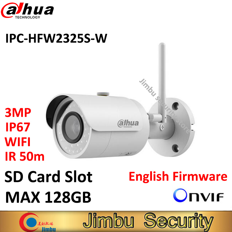 dahua 3mp network ir mini bullet ip camera 1080p support poe function waterproof ip67 ipc hfw1320s hfw1320s security cctv camera Dahua IPC-HFW2325S-W 3MP IR50M IP67 mini camera WIFI SD Card slot Network outdoor WIFI Camera replace IPC-HFW1320S-W IP Camera