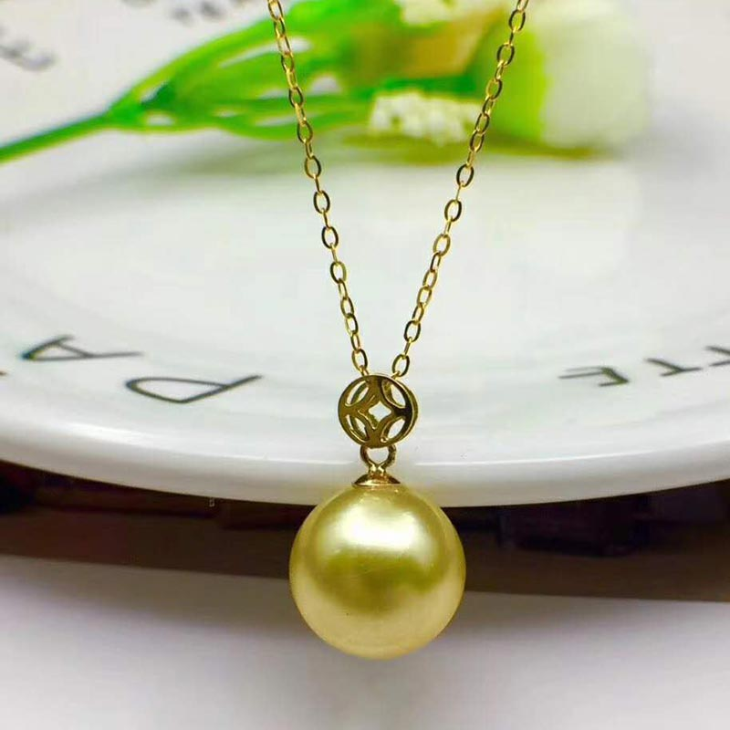Xin yi peng real 18 k gold inlaid natural round 10 mm pearl female pendants for women pendants fine jewelry AU750Xin yi peng real 18 k gold inlaid natural round 10 mm pearl female pendants for women pendants fine jewelry AU750