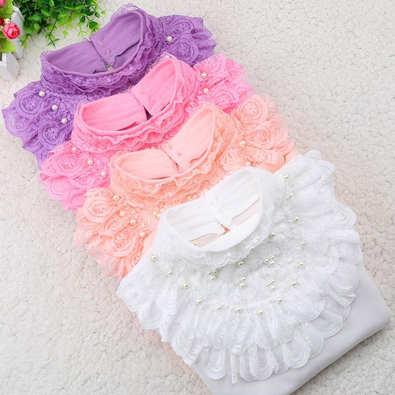 2018 New Arrive Thermal Underwear Girl Lace T Shirt Children Winter Plus Thick Velvet Thermal Underwear White Girl TShirt