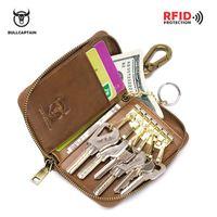Genuine Leather Short Wallets Men Key Holder Housekeeper Keys Organizer Women Key Chain Covers Zipper Key Case Bag Pouch Purses