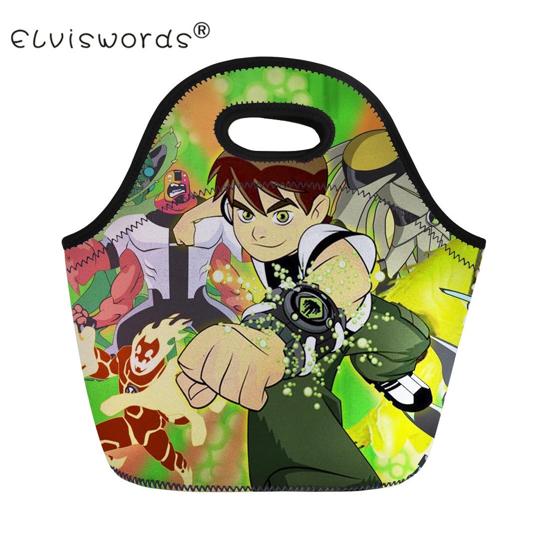 ELVISWORDS Lunch Bag for Boys Cartoon Ben 10 Printing Carry Lunch Box for Kids Insulated Picnic Food Bag Bolsa Termica Lancheira