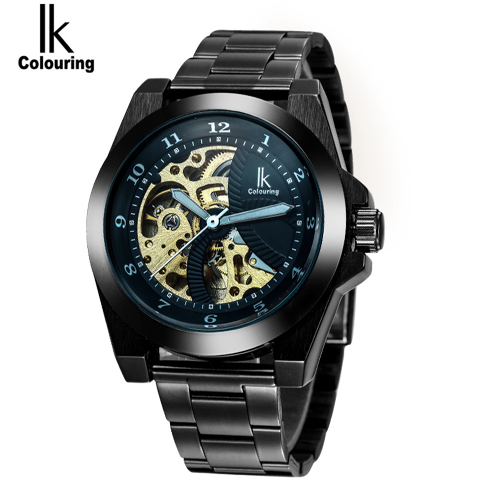 IK Luxury Fashion Casual Stainless Steel Men automatic Mechanical Watch Skeleton Watch For Men's Dress Wristwatch Free Ship ik luxury fashion casual stainless steel men automatic mechanical watch skeleton watch for men s dress wristwatch free ship