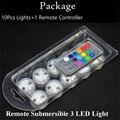 10 pçs/lote CR2032 Bateria Operado 3 CM Rodada Super Bright RGB Multicolors LED Submersíveis Floralyte LEVOU Luz Com Controle Remoto