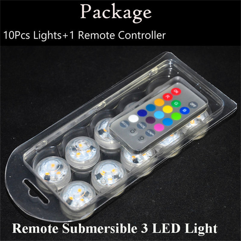 10pcs/Lot  CR2032 Battery Operated 3CM Round Super Bright RGB Multicolors LED Submersible LED Floralyte Light With Remote