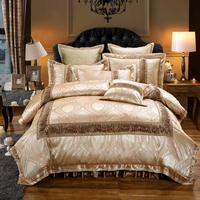 Papa&Mima Gold duvet cover 4 or6pcs Queen King Size Bedding Sets Cotton Jacquard Quilted Bedskirt with Zipper
