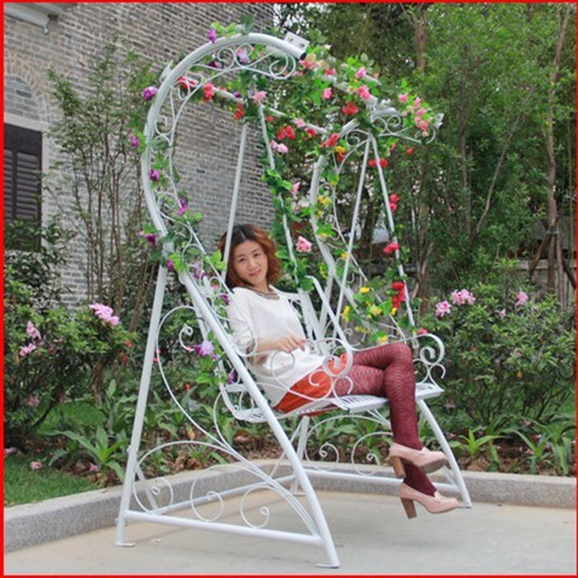 Home Interior And Exterior Wrought Iron Patio Lounge Chair Rocking White  Hanging Chair Outdoor Garden Terrace