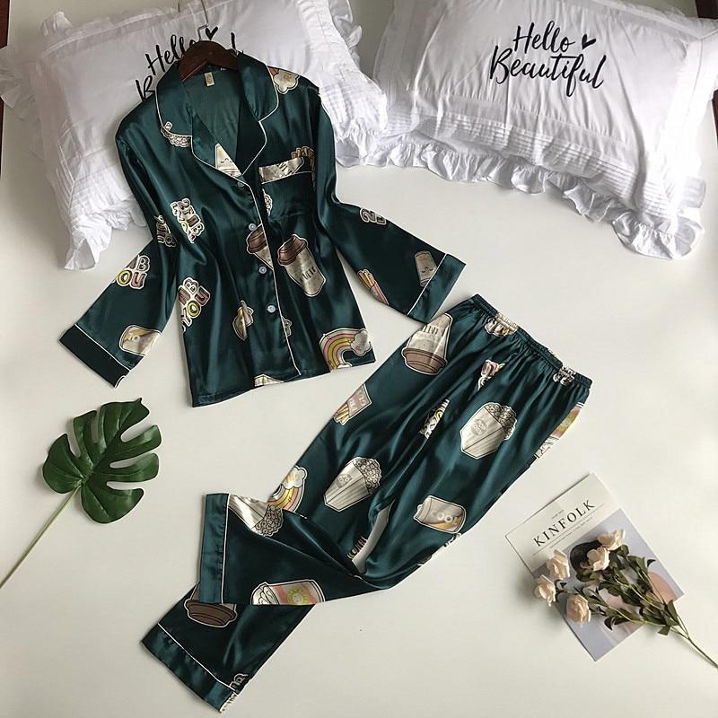 Spring Women Silk Long Sleeve   Pajamas     Sets   with Pants Female Satin Thin Loose Pyjama Sleepwear Flower Print 2 Pieces Pijama