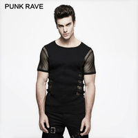 PUNK RAVE Personality Punk Rock T shirt Men Black Knitted Street Mesh Sexy Tee Shirt Top Steampunk Metal Black Top Sexy Gothic
