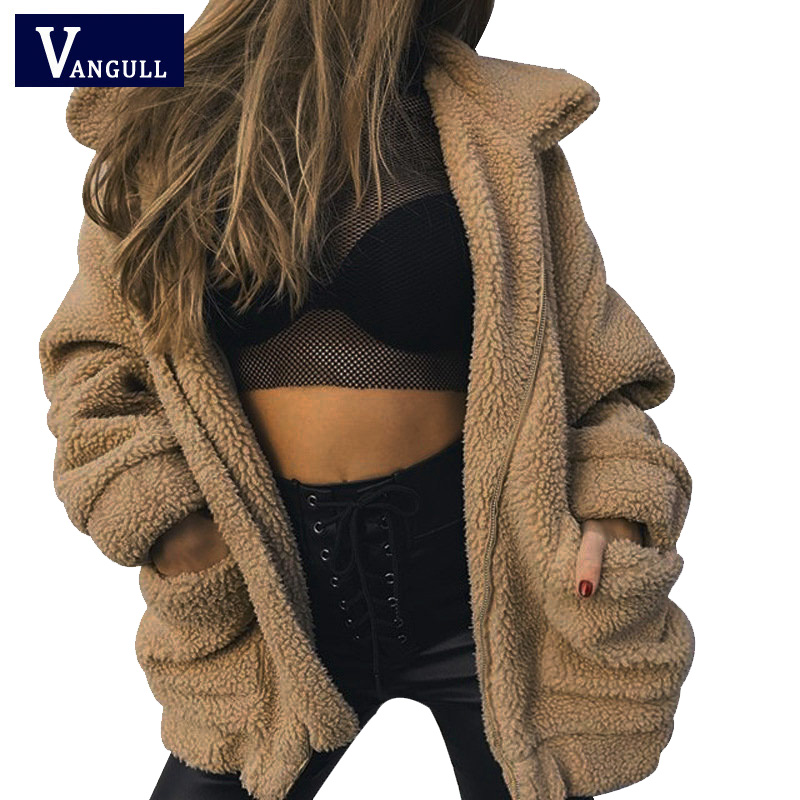 VANGULL Women Thick Flocking Jackets Female Oversize   Coats   Fur Loose Style Pockets Streetwear Jacket   Coat   Winter Outwear 2018