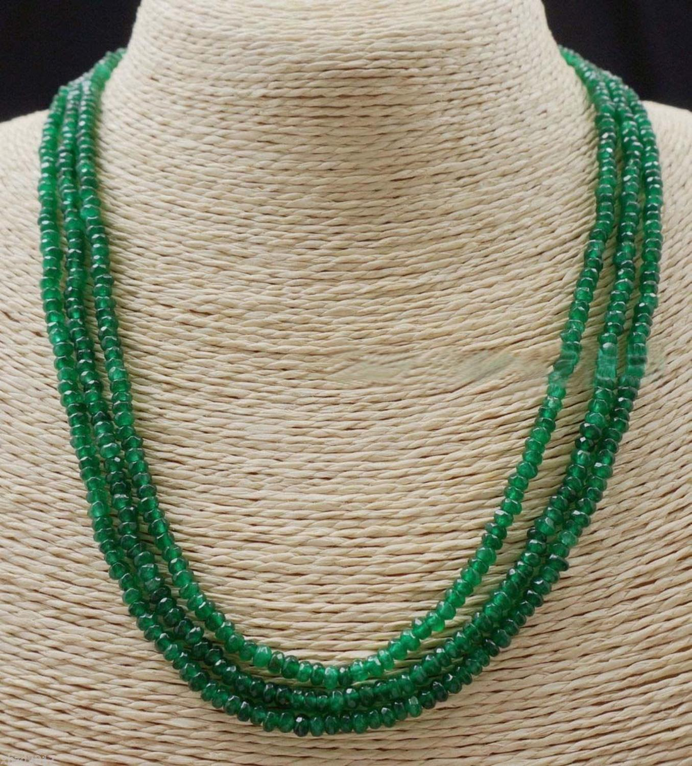 GENUINE NATURAL 3 Rows 2X4mm FACETED GREEN ABACUS BEADS NECKLACE17 19 #@