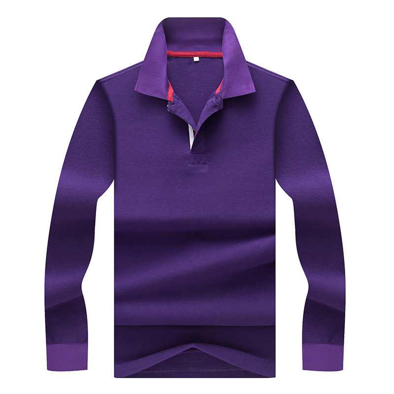 New Men's Long Sleeve   Polo   Shirts Fashion Pure Color 100% Cotton Fit Slim Business Causal   Polo   Shirts Men   Polo   Tee M~3XL AF8888
