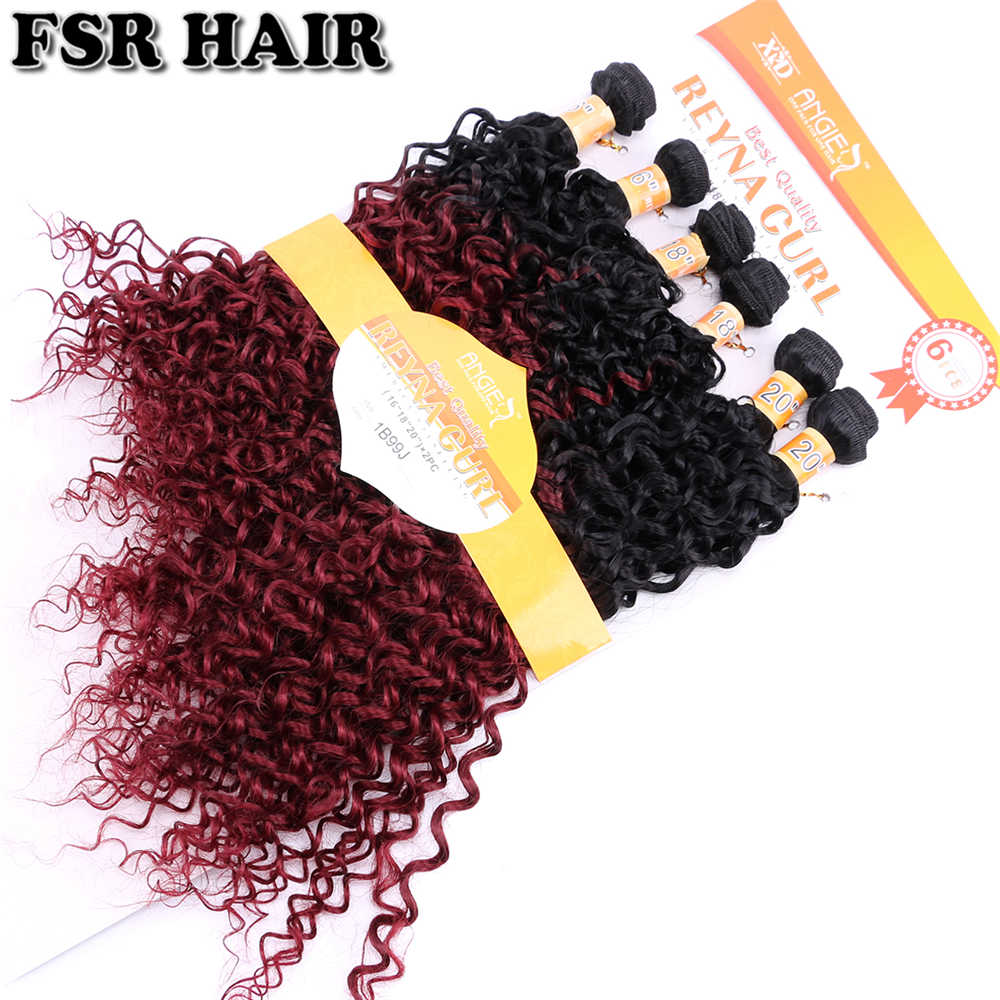 Reyna кудрявые Омбре волосы пучок кудрявые вьющиеся волосы плетение 16-20 дюймов 6 шт. один комплект афро кудрявые синтетические волосы для наращивания