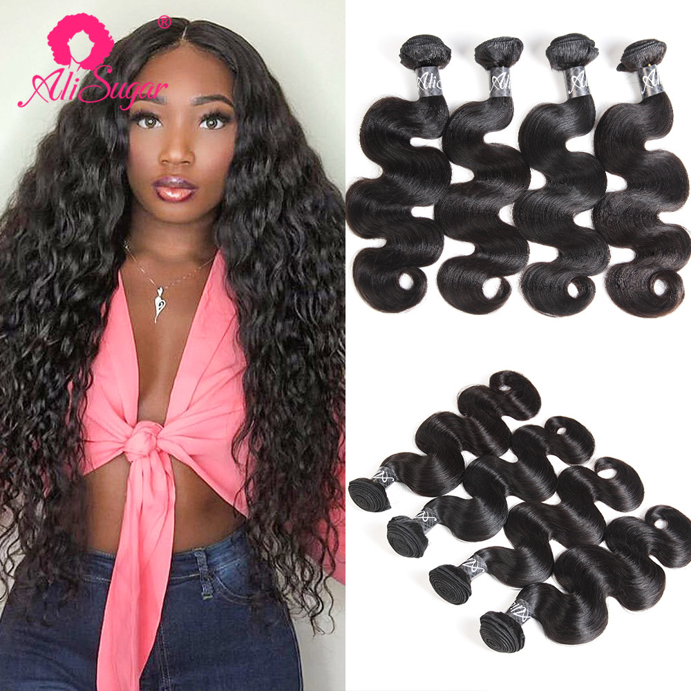 Human Hair Weaves Reasonable Ali Sugar Hair Brazilian Body Wave 3/4 Bundle Deals Natural Color Double Machine Wefts Remy Human Hair Extensions Free Shipping