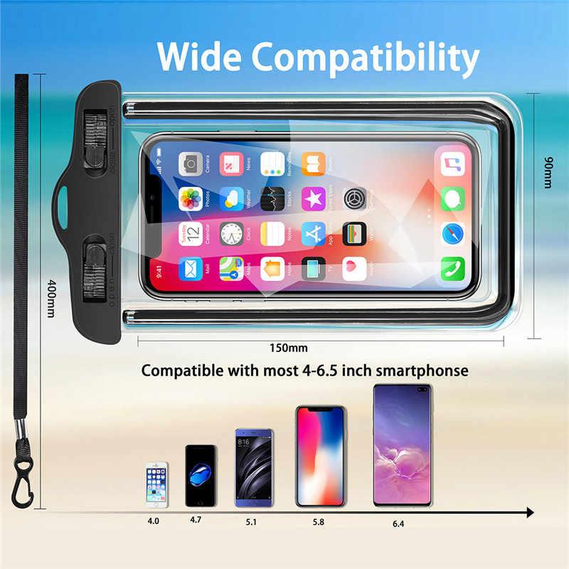 Uslion Tahan Air Case untuk Ponsel Kantong Tas untuk iPhone X XS Max Huawei Samsung Xiaomi Bawah Air Tritone Berenang Tahan Air Ponsel kasus