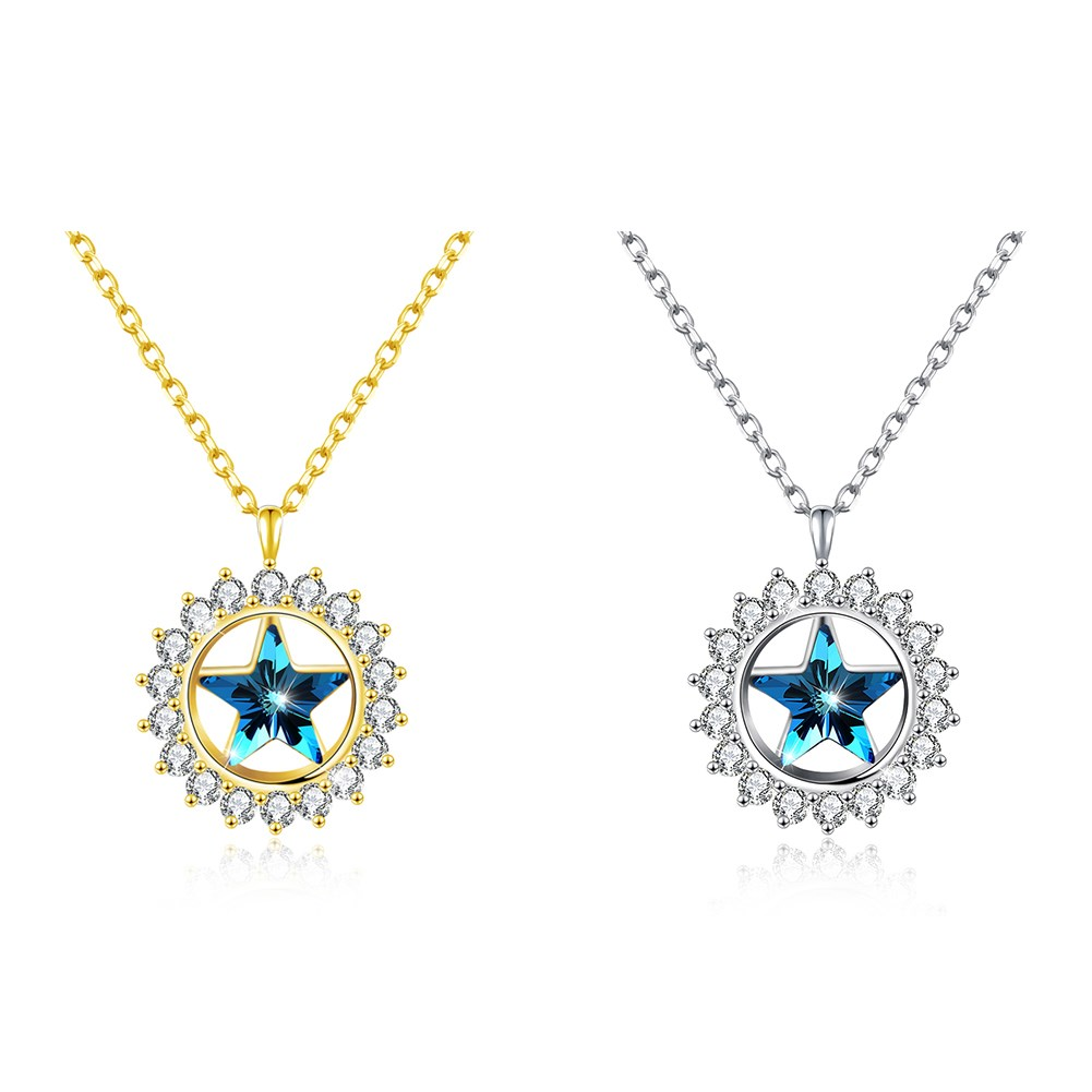 LEKANI Crystals from Swarovski Element Sun Star Pendant Necklace with Cubic Zirconia Oval Chain for Women stylish artificial crystals rhinestones oval necklace for women