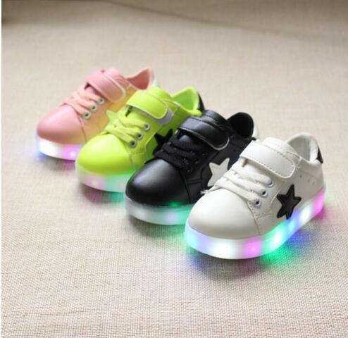 Retail shoes with light 2017 autumn baby boys girls shoes chaussure led enfant child breathable sneakers young EU21-30