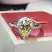 Luxurious Style 3 Carat SONA Diamond Pear Cut Engagement Rings For Women Water Drop Engagement Ring