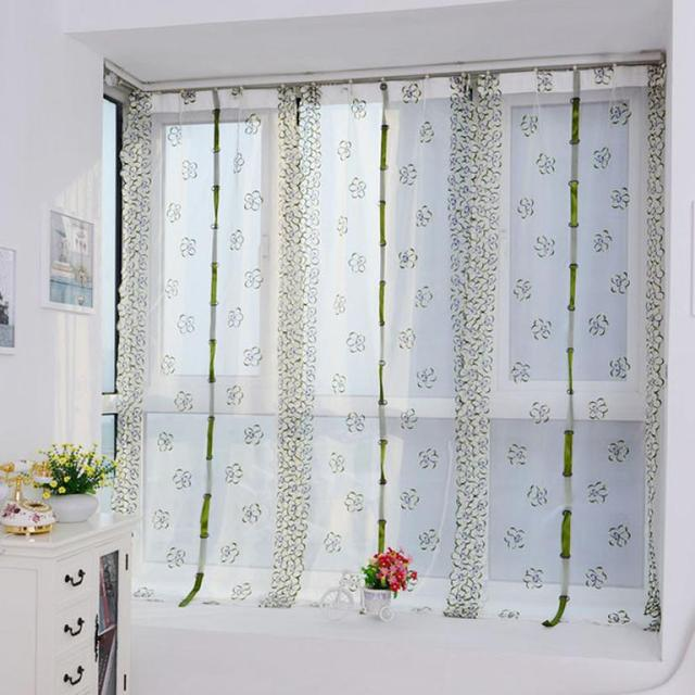 New Qualified 100 80cm Embroidery Roman Curtain Voile Sheer Curtains For Bathroom Kitchen Levert Dropship