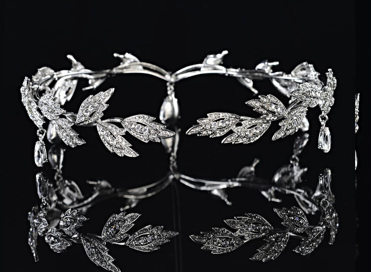 Remedios Elegant Leaf Design Wedding Crown Tiara Hair Jewelry Rhinestone Bridal Bridesmaid Headpiece Headband (2)