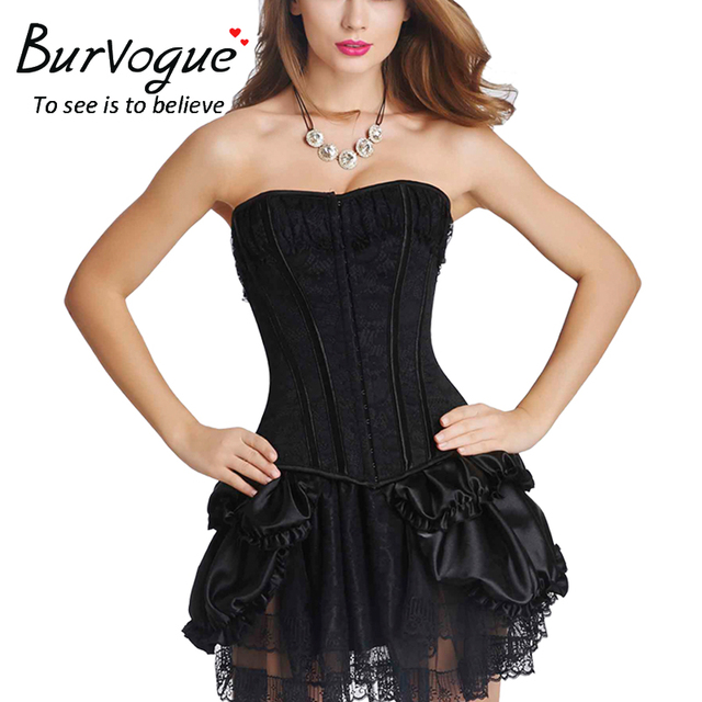 Burvogue New Sexy Lace Overbust Shapers Vintage Women Corset and Bustier Plus Size Push Up Gothic Corset Dress Costume Sets