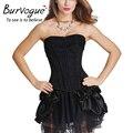 Burvogue new lace sexy mulheres do espartilho e bustier overbust shapers do vintage plus size empurrar para cima do espartilho gótico vestido conjuntos de traje