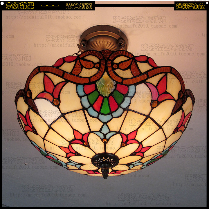 Tiffany Baroque Stained Glass Suspended Luminaire E27 110-240V Chain Pendant lights Lighting Lamps for Home Parlor Dining Room european retro coloured drawing rose glass pendant lights classical rural e27 led lamps for parlor