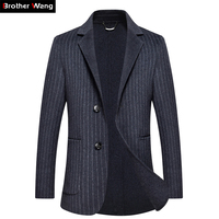 2018 Autumn and Winter New Men's Fashion Suit Jacket High Quality Wool Slim Blazer Cashmere Stripe Coat Male Brand Clothes
