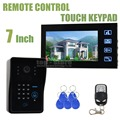 DIYSECUR 7inch LCD Video Doorbell Door Phone Intercom System With Code Password Keypad RFID Reader 4 in 1 IR Camera