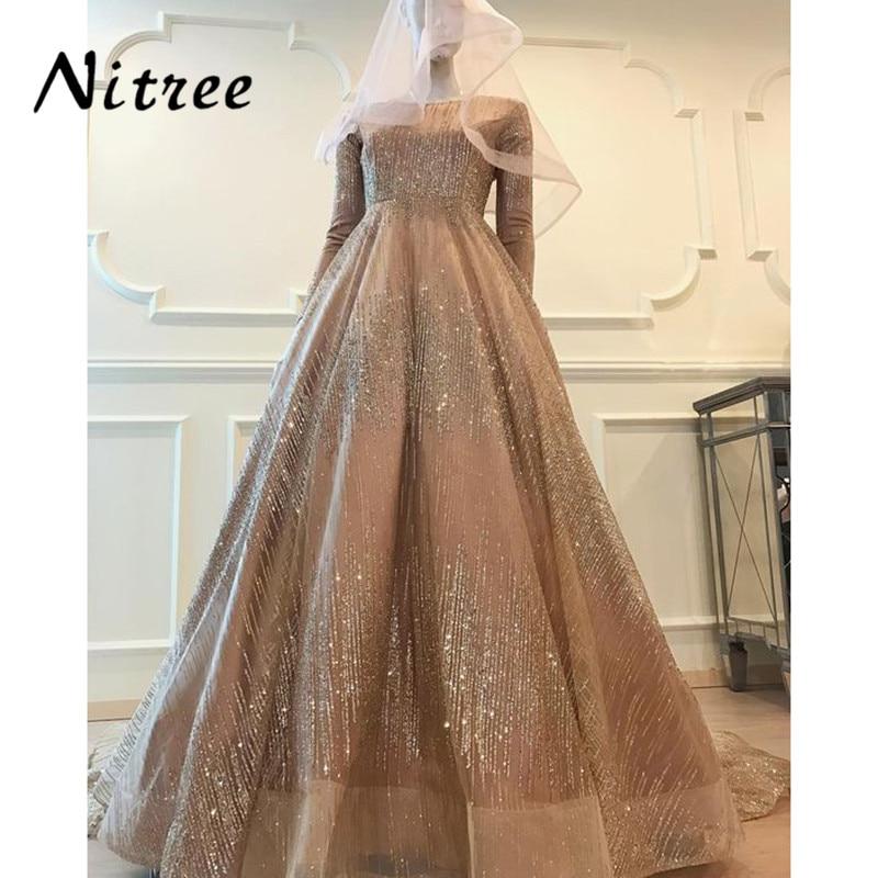 2018 Glitter Muslim Evening Dresses African Dubai Turkish Formal ...