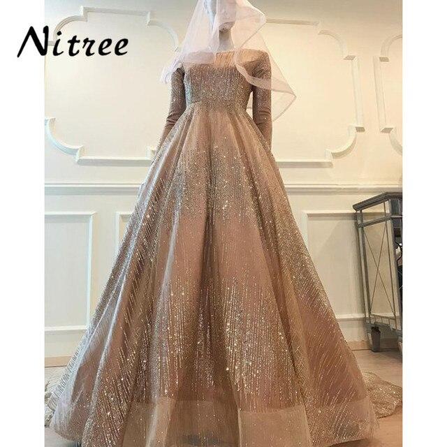 2018 Glitter Muslim Evening Dresses African Dubai Turkish Formal Prom Gowns  Dress Bling Unique Sequins Abendkleider Kaftan Gowns 073209d99528