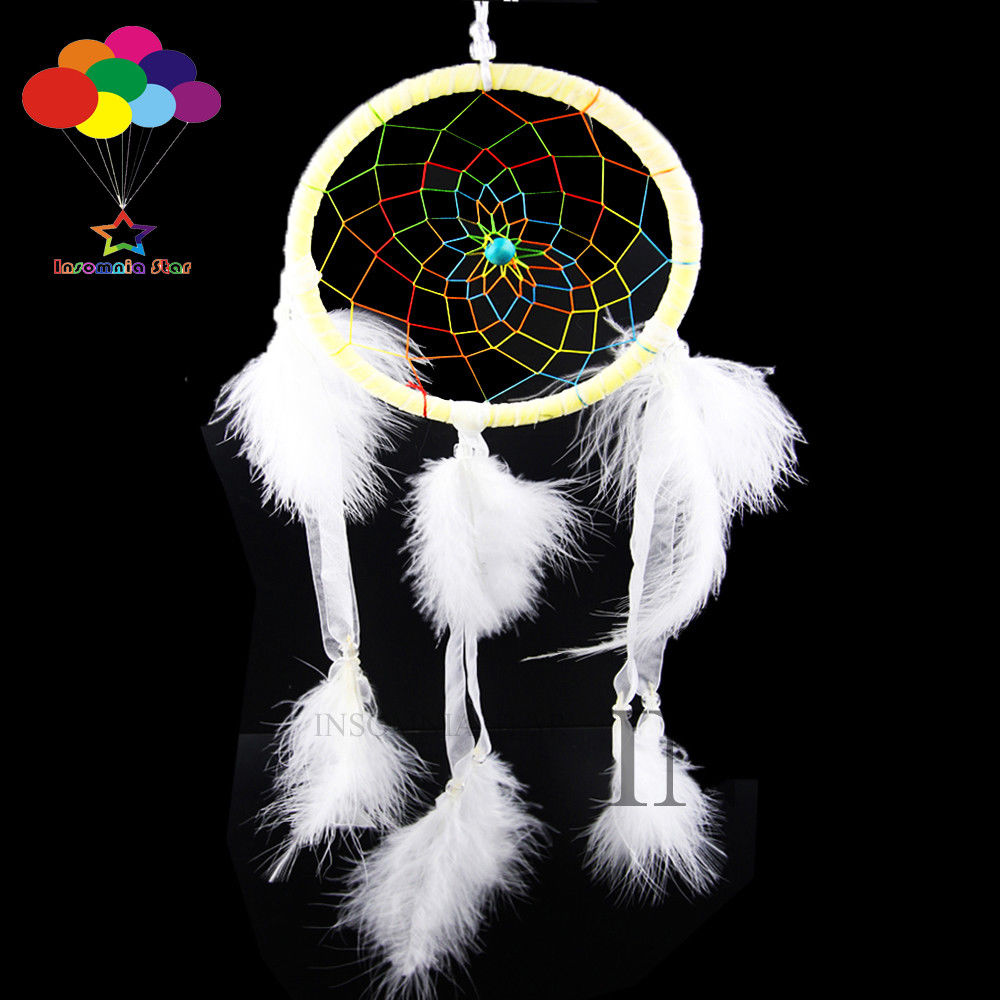 Boho Stijl Diy Dream Catcher Circulaire Witte Veer Muur Opknoping Decoratie
